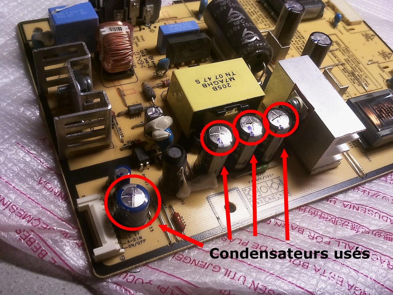 Probl me cran samsung 940bf qui siffle et s 39 teint for Comment verifier un condensateur