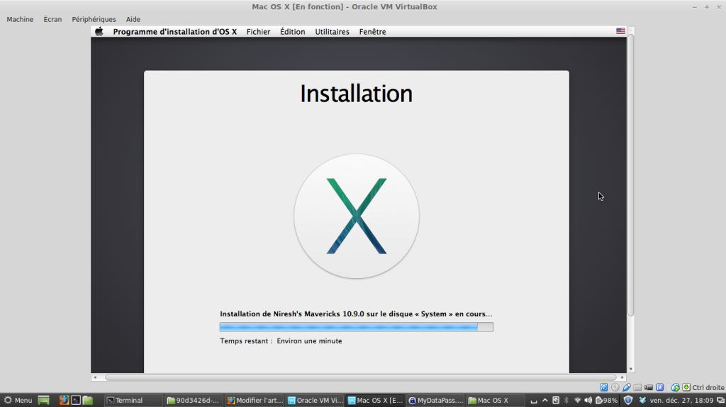 Capture Installation Mac OS X Mavericks